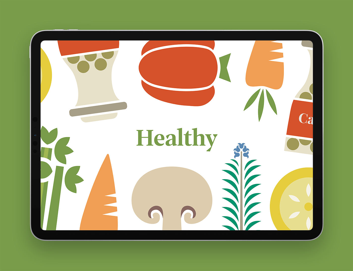 Cookbook page shown on an iPad screen, with the word 'Healthy' surrounded by illustrations of different healthy foods