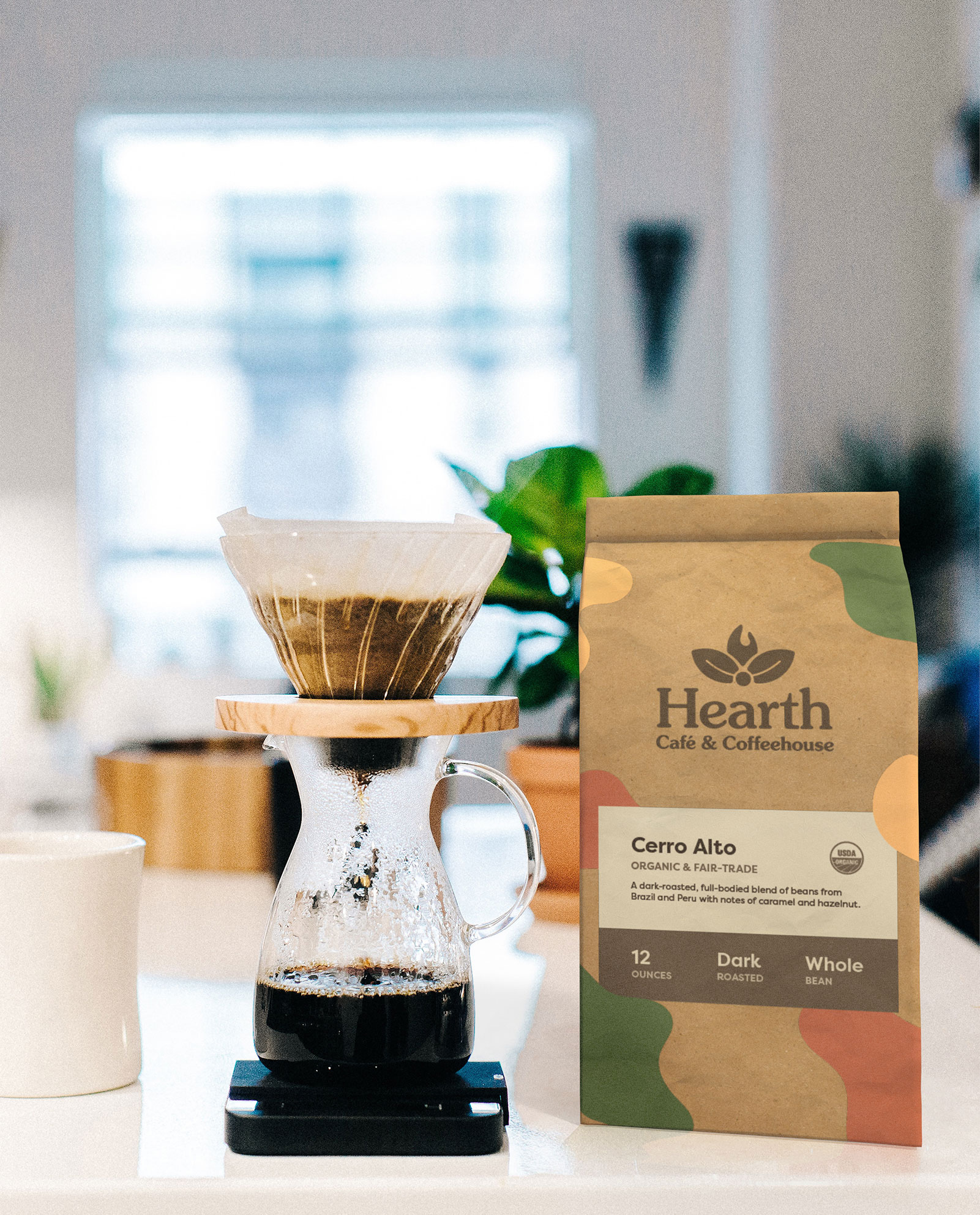 A bag of coffee with Hearth's new branding