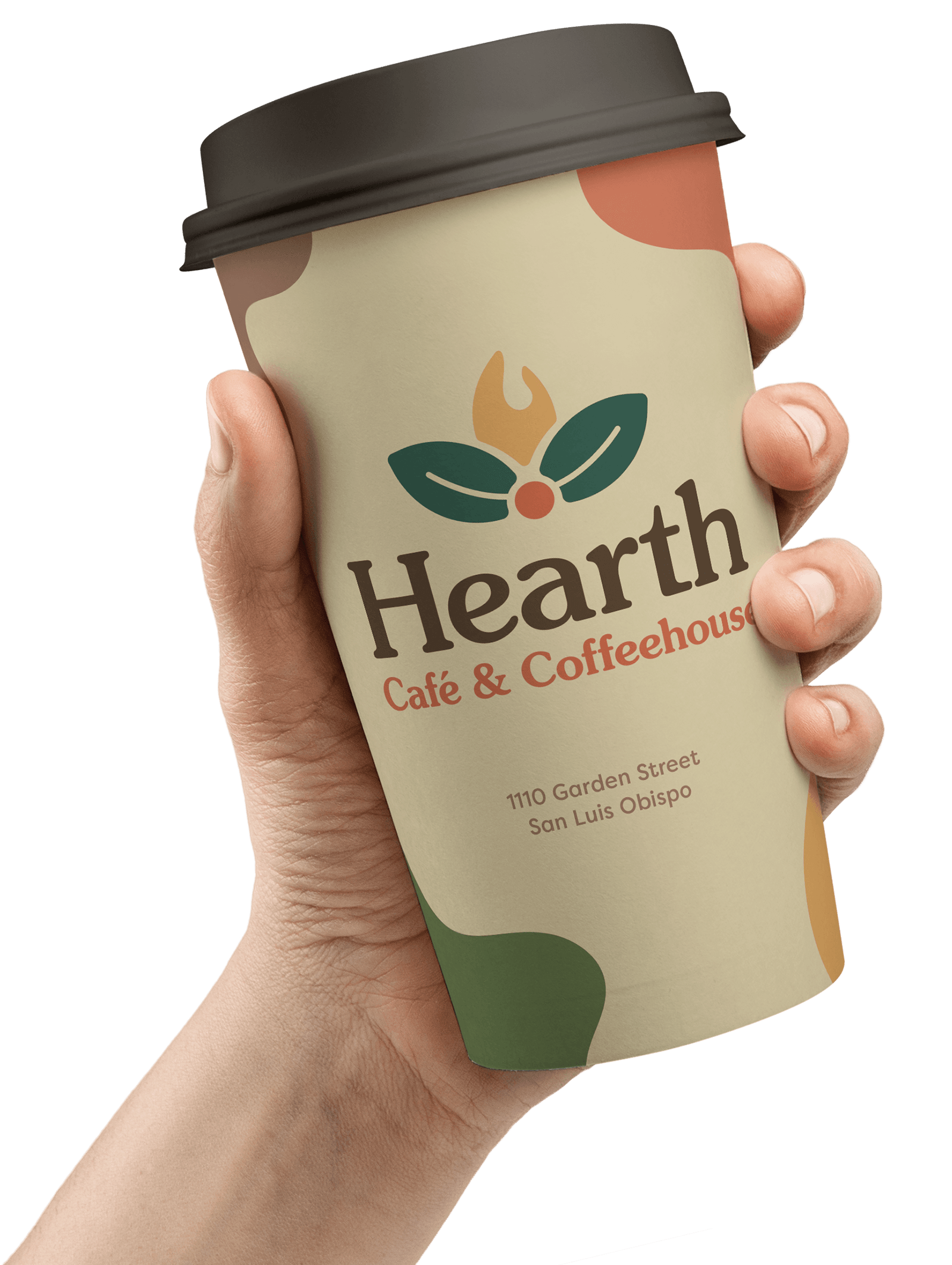 A hand holding the rebranded Hearth to-go coffee cup at an angle