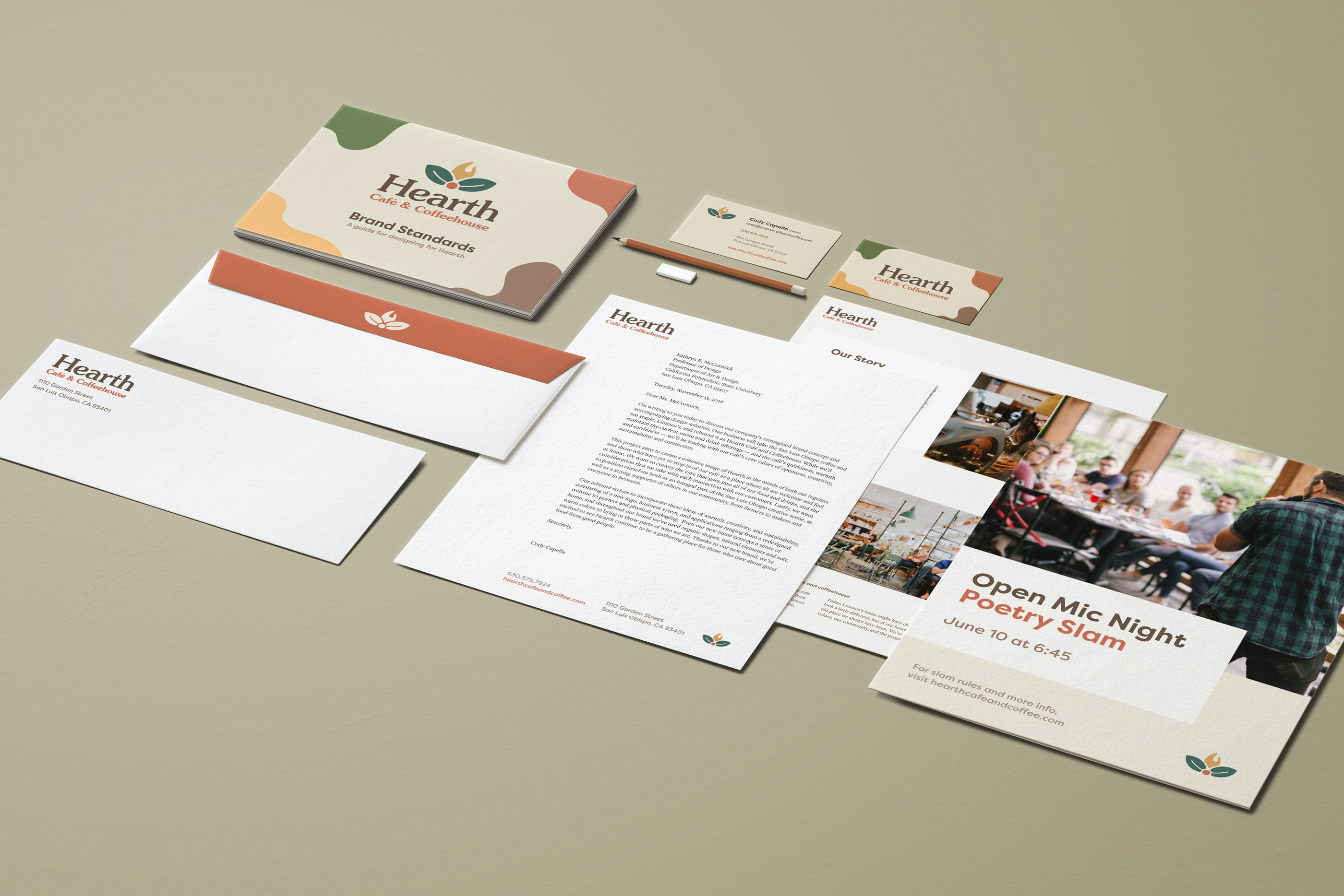Hearth's identity system, including business cards, envelope, letterhead, and brand standards manual