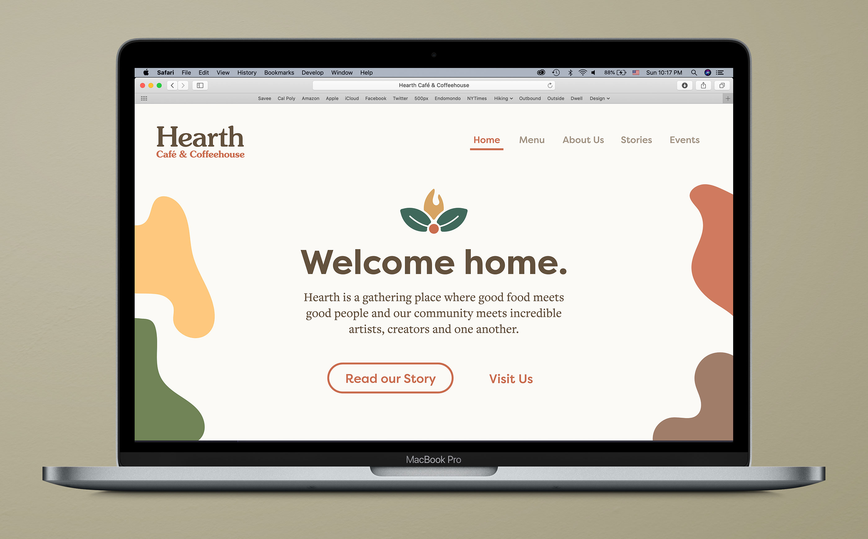 The homepage of the Hearth website, displayed in a MacBook Pro