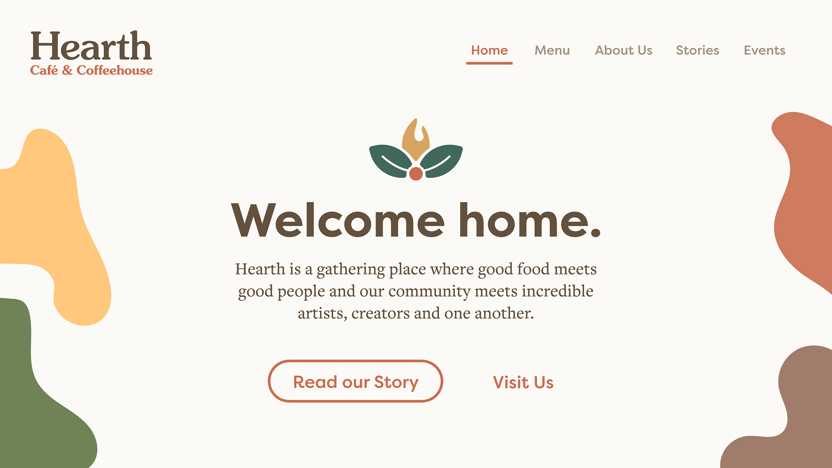 The homepage of the Hearth website